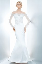 Mermaid Appliqued Off-The-Shoulder Illusion Sleeve Satin Wedding Dress