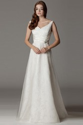 A-Line Floor-Length Appliqued V-Neck Sleeveless Satin Wedding Dress With Broach And Bow