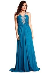A-Line Ruched Sleeveless Floor-Length Empire Chiffon Prom Dress With Straps And Beading