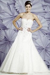 A-Line Maxi Sweetheart Sleeveless Beaded Tulle Wedding Dress With Appliques