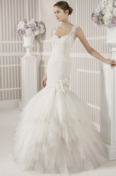 Mermaid Floor-Length Sleeveless Cascading-Ruffle Tulle Wedding Dress With Flower And Beading