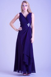 A-Line Sleeveless Broach Ankle-Length V-Neck Chiffon Prom Dress With Draping And Ruching