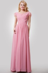 Chiffon A-Line Long Dress With V-Neck and Cap Lace Sleeves