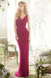 Sheath Maxi Sleeveless Side-Draped V-Neck Chiffon Bridesmaid Dress With Straps