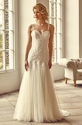 Floor-Length Straps Appliqued Tulle&Lace Wedding Dress With Brush Train And Illusion