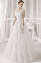 A-Line Sleeveless Maxi Appliqued Scoop Tulle&Satin Wedding Dress With Pleats And Illusion Back