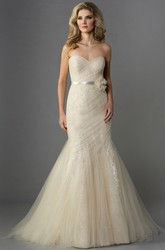 Sweetheart Mermaid Tulle Gown With Floral Waist And Bow Sash