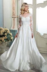 A-line Button Back Ethereal Elegant Lace Wedding Dress With Illusion Long Sleeves