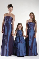 Ruched Strapless Satin Bridesmaid Dress With Draping And Waist Jewellery