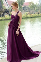 Ethereal Chiffon One Shoulder Backless Chiffon Maxi Formal Dress With Floral Strap