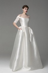 Off-Shoulder Long A-Line Satin Wedding Dress With Lace Sleeves