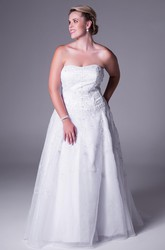 Strapless Tulle&Satin Plus Size Wedding Dress