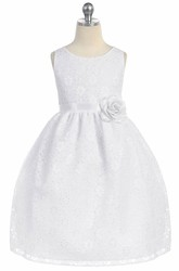 Floral Tea-Length Tiered Lace Flower Girl Dress