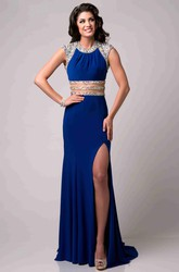 Cap Sleeve Chiffon Prom Dress With Shining Special-Design Bodice