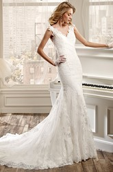 V-Neck Sheath Lace Wedding Dress With Brush Train And Open Back