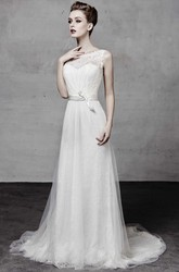 A-Line Appliqued Long Sleeveless Bateau Tulle&Lace Wedding Dress With Bow