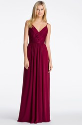 Spaghetti Embroidered Sleeveless Chiffon Bridesmaid Dress With Straps