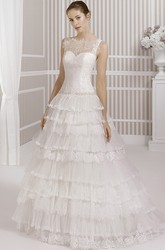 A-Line Tiered Floor-Length Bateau Sleeveless Tulle&Lace Wedding Dress With Waist Jewellery And Illusion Back