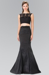 Two-Piece Trumpet Floor-Length Jewel-Neck Sleeveless Satin Dress With Lace And Bow