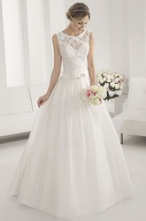 Appliqued Floral Scoop Neck A-line Taffeta Wedding Gown