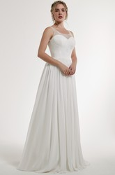 A-Line Scoop Lace Sleeveless Floor-Length Chiffon Wedding Dress With Keyhole Back And Pleats