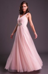 A-Line Sleeveless Floor-Length V-Neck Jeweled Tulle Prom Dress With Pleats