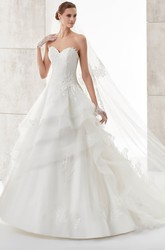 Sweetheart A-line Wedding Dress with Asymmetrical Ruffles and Lace Corset
