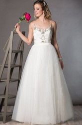 Spaghetti Straps Tulle Bridal Ball Gown With Crystal Top