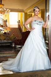Sweetheart Lace-Up Taffeta Wrapped Bridal Gown With Tulle Train