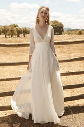 Chiffon 3/4 Sleeve With Lace Top And Deep V-back Ethereal Plunging Wedding Dress