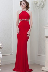 Sheath Floor-Length Sleeveless Scoop-Neck Beaded Jersey Evening Dress