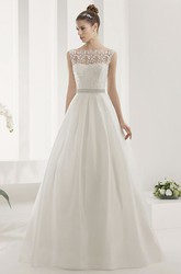 Leaf-appliqued Top Taffeta Wedding Gown With Back Bows