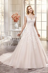 Ball Gown Appliqued Scoop-Neck Maxi Cap-Sleeve Lace Wedding Dress