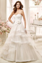 Sweetheart A-line Wedding Dress with Flowers and Asymmetrical Ruching