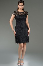 Scoop Neck Short Sleeve Sheath Lace Bridesmaid Dress Knee Length
