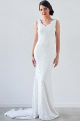 V-Neck Long Appliqued Lace Wedding Dress With Court Train And V Back