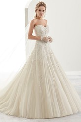 Sweetheart Brush-Train A-Line Bridal Gown With Beaded Details And Lace-Up Back