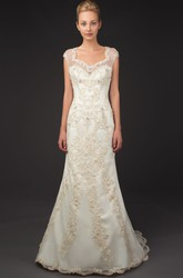 Square Neck Cap Sleeve Appliqued Tulle Wedding Dress With Brush Train