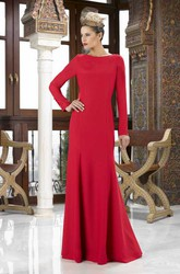 Jewel Neck Long Sleeve Bowed Jersey Mother Of The Bride Dress
