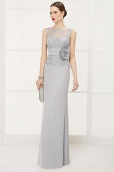 Illusion Bateau Sleeveless Sheath Long Dress With Lace Top And Waist Flower