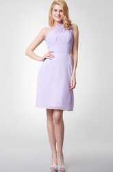 Demure One Shoulder Sheath Short Chiffon Dress With Ruching