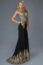 Sheath Maxi Bateau Sleeveless Jersey Illusion Dress With Beading And Pleats