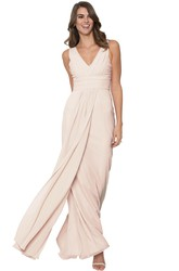 Ruched V-Neck Sleeveless Chiffon Muti-Color Convertible Bridesmaid Dress With Straps