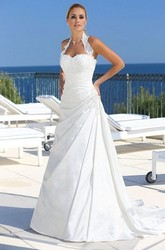 A-Line Halter Sleeveless Draped Satin Wedding Dress With Court Train