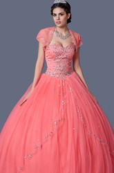 Elegant Princess Style Sweetheart Prom Ball Gown With Beading and Jacket