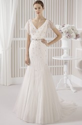 Sheath V-Neck Poet-Short-Sleeve Beaded Long Tulle Wedding Dress With Pleats And Low-V Back