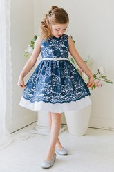 Tea-Length Beaded Floral Lace&Satin Flower Girl Dress With Ribbon