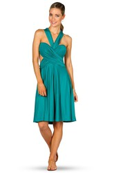 Midi Halter Ruched Jersey Convertible Bridesmaid Dress With Straps