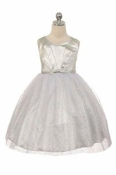Tea-Length V-Neck Pleated Tulle&Sequins Flower Girl Dress With Tiers