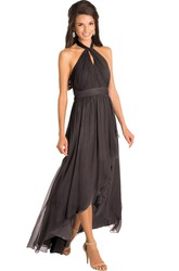 High-Low Ruched Halter Sleeveless Chiffon Muti-Color Bridesmaid Dress